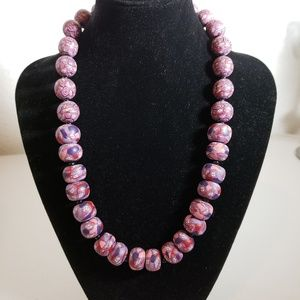 Beaded Phyllo Necklace Purple Pink White